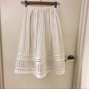 White A-line Mesh detail Skirt